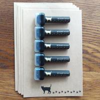 【5本セット】スタンプにゃん ネコの足あとスタンプ♪鉛筆キャップはんことポストカード