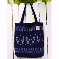 Natural Indigo dyeing handwoven cotton tote bag  手織りコットンインディゴ染めトート