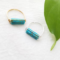 14kgf/sv925☆Stick turquoise ring