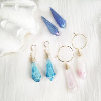 14kgf☆Stick crystal pierce☆pink
