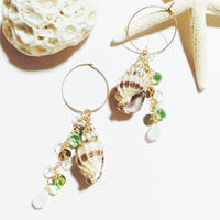 14kgf☆shell charm pierce☆peridot