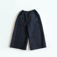 【安藤明子】ポケットゴムズボン コットンリネン ネイビー ストライプ 0サイズ/1サイズ