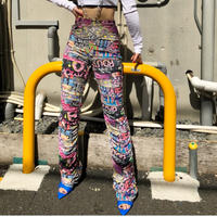 【DOLLS KILL】URBAN MELODY RUCHED PANTS/ MULTI PINK