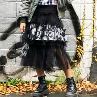 【CUBRUN】LOGO  LAYERED  TULLE  SKIRT