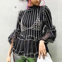 【CUBRUN】Stripe Mesh Peplum Knit