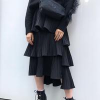 Asymmetry Frill Pleats Skirt
