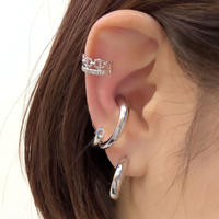 2 EAR CUFF+BOLD MINI HOOP PIERCE SET