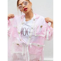【CUBRUN】MIX DECO LACE SHEER JACKET