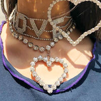 RHINESTONE  NECKLACE BIG   HEART