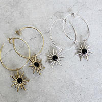 BIG  SUN  MOTIF  HOOP   EARRING