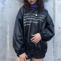 FAKE LEATHER MESSAGE PULLOVER