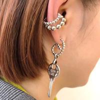 DOUBLE BALL EAR CUFF+KEY PIERCE SET