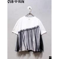 【CUBRUN】TULLE LAYERED STONE TEE