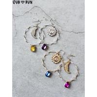 【CUBRUN】SUN&MOON  WAVE  RING  PIERCE