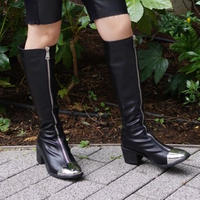 Metal toe zip long boots