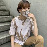 TOKYO限定 REMAKE TIEDYE TEE(MASK SET) 【BROWN 】