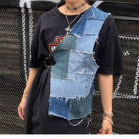REMAKE PATCHWORK DENIM HALF VEST