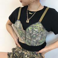 REMAKE PATCHWORK AGING MILITARY BUSTIER