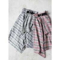 Asmmetry Fril Check Skirt