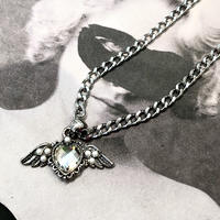 CLEAR  BIJOU  HEART  FEATHER  NECKLACE
