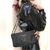 【Vintage CHANEL】NOVERTY NYLON SPANGLE SHOULDER BAG