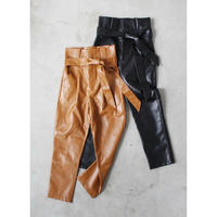 HIGH  WAIST  LEATHER   TAPERED  PANTS