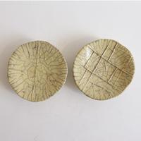 キムホノ作 楽焼豆皿2枚組/黄色D