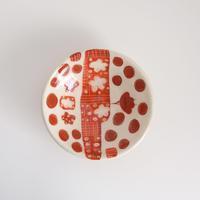 イバタカツエ作 赤絵豆皿/E