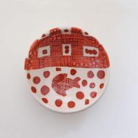 イバタカツエ作 赤絵豆皿F