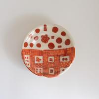 イバタカツエ作 赤絵豆皿/B