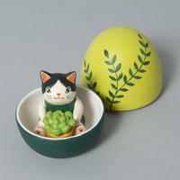 天野千恵美「ガーデンニング卵猫」白黒