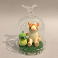 天野千恵美「鳥猫ガラスドーム」緑