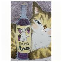 松風直美 ペン画「ワインをいかが」