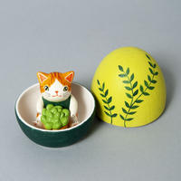 天野千恵美「ガーデンニング卵猫」茶白①