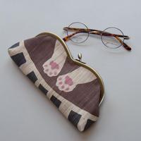 春日 粧 麻メガネケース ピアノ(茶色)