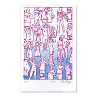 """Untitled, 2019 (couples+singles/blue)"" Riso Print by Dan Gluibizzi"