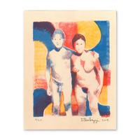 """Untitled, 2019 (couple)"" Riso Print by Dan Gluibizzi"