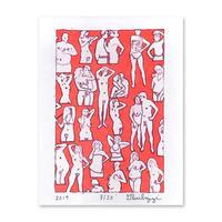 """Untitled, 2019 (couples+singles/orange)"" Riso Print by Dan Gluibizzi"