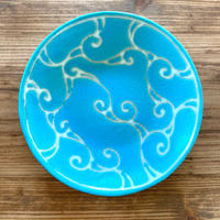 【眞正陶房】大人のやちむん7寸皿 ターコイズ絵皿  唐草