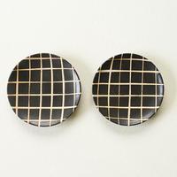 【沖縄のかわいい器】陶factory509 モノクロ皿小 ペア/チェック