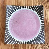 【正方形のやちむん】5寸正方皿 ピンク 眞正陶房