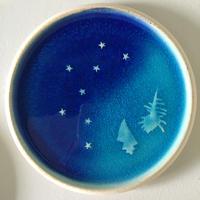 青の煌き 6寸皿