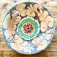 【壺屋焼き】國場陶芸 赤絵8寸皿 グレー