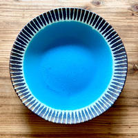 【眞正陶房】大人のやちむん7寸皿 マカロン ターコイズ
