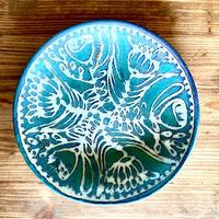 【眞正陶房】大人のやちむん7寸皿 カーサグリーン絵皿