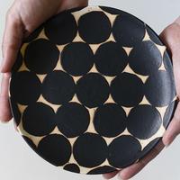 【沖縄のかわいい器】陶factory509 モノクロ皿 / 黒丸