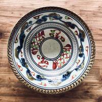 【壺屋焼】國場陶芸 赤絵染付絵皿7寸鉢