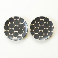 【沖縄のかわいい器】陶factory509 モノクロ皿小 ペア/黒丸
