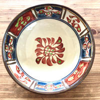 【壺屋焼】國場陶芸 赤絵染付絵皿5寸平鉢