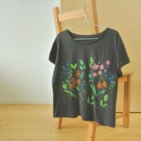 手描きTシャツ(Mサイズ・幅広ドルマン・フルペイント) 【花】